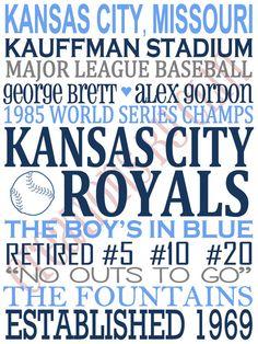 Subway Art/Typography Kansas City Royals. MLB. Baseball 'rustic' Looking Canvas by CreationsbyCLM, $30.00