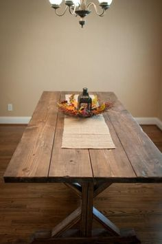 Wide plank farmhouse table stained wood diy boards make yourself easy X pedestal pottery barn style free plans from ANA-WHITE.com