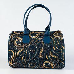 Dark Blue and Yellow Cucumber Print Handbag for by MyBrightBag
