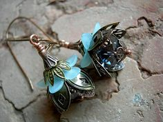 Steampunk Flower Earrings .Blue & Brass, Sky and Smoke .Sparkly Faery Couture. $27.00