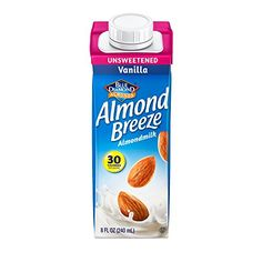 Blue Diamond Breeze Almond Milk, Unsweetened Vanilla, 8 Ounce (Pack of 12) * Details can be found by clicking on the image.