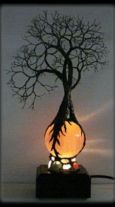 Hand-made :: Wire Tree Of Life Ancient Grove Spirits sculpture on natural Orange Selenite Full Moon Sphere Gemstones Lamp by CrowsFeathers.This is outstanding and it's a lamp! Wire Trees, Ideias Diy, Wire Art, Tree Of Life, Art Nouveau, Lanterns, Sculptures, Tree Sculpture, Artsy