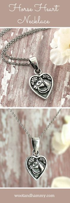 This cute, rustic pendant features a horse surrounded by tiny flowers in a small heart shape....pinned by ♥ wootandhammy.com, thoughtful jewelry.