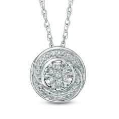 Diamond Accent Swirl Cluster Pendant in Sterling Silver - View All Necklaces - Zales