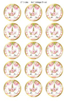 INSTANT DOWNLOAD / Unicorn Faces / Pink White & Gold /