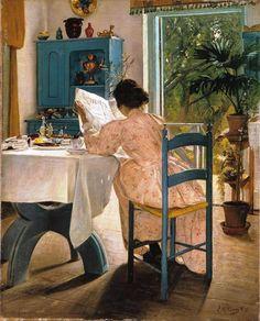 Just My Cup of Tea by Swedish realist painter Carl Larsson Reading Art, Woman Reading, Reading Books, Carl Larsson, Nordic Art, Scandinavian Art, Scandinavian Paintings, Edward Hopper, Paul Gauguin