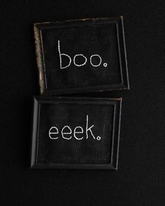 Halloween Embroidery - eeek. boo. - http://www.sweetpaulmag.com/crafts/scary-walls #sweetpaul