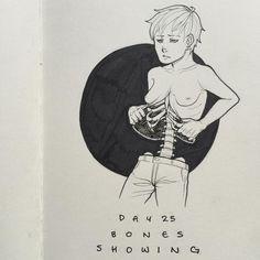 Keep forgetting to upload these..... #goretober #inktober #bones #gore #guro #kazuagoretober