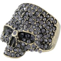 Crafted Rhinestone Skull Ring ($9.49) ❤ liked on Polyvore
