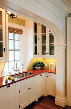 Crown Point creates handcrafted, all-wood cabinetry in several styles. Possible expansion of kitchen, knock out small area.