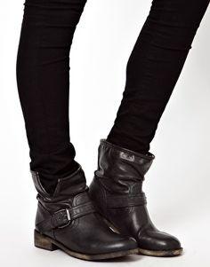 Image 3 ofNew Look Black Buckle Biker Boots