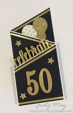 Stampin' Up! Tri-Fold Milestone Birthday Card - Judy May, Just Judy Designs 50th Birthday Cards For Women, 80th Birthday Cards, Special Birthday Cards, Masculine Birthday Cards, Birthday Gifts For Teens, Handmade Birthday Cards, Birthday Parties, Cards For Men Handmade, Stampin Up