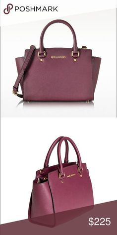 Michael Kors medium Selma purse in plum Selma Plum Saffiano Leather Medium Top Zip Satchel crafted in signature saffiano leather, exudes relaxed elegance sure to be your go-to in your bag rotation. Featuring top zip closure, removable, adjustable buckle shoulder strap, gold tone signature gold tone hardware and structured flat base. Signature dust bag included.  I received as a gift and I already have this bag. Michael Kors Bags Satchels