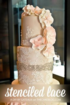 Learn how to make gorgeous lace detailing on wedding cakes using a stencil and royal icing. A step-by-step tutorial by Robin Martin of Gateaux Inc.