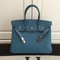 Hermes Birkin 35 Tote Bag in Blue Togo Leather HB1210 Hermes Birkin 6fd83f2da1e4b
