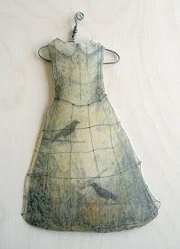 """Alicia Tormey 'Paper Doll Dress'  - paper & encaustic medium -10""""  x 6"""" Art Blog: November 2008"""