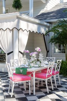 Palm Beach Chic Outdoor Decor Ideas and Deck Plan - - For a fun and funky deck or patio makeover, these Palm Beach chic outdoor decor ideas will have you spending your whole summer outdoors. Outdoor Rooms, Outdoor Dining, Outdoor Decor, Dining Table, Outdoor Curtains For Patio, Outdoor Patios, Outdoor Kitchens, Palm Beach Decor, Beach Chic Decor