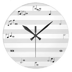 Music note time clock - black and white ... another one that tells the time with the beats of the notes. LOve these! on Zazzle.com