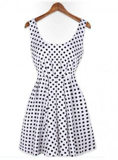 Polka Dot Backless Bow Dress Pink White$39
