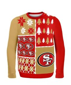 eea29dda849 NWT NFL SAN FRANCISCO FORTY NINERS Red   Gold UGLY CHRISTMAS SWEATER Size  Large