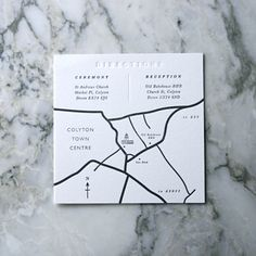 50 Hand Drawn Wedding Maps. Designed and drawn by hand and then Letterpressed onto thick luxurious 300gsm Cotton Card.  10.5 cm x 10.5cm and