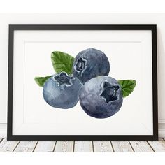 Blueberry print Berries art Kitchen poster Food print ACW485 (€16) ❤ liked on Polyvore featuring home, home decor and wall art