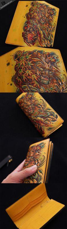 Handmade biker wallet yellow color carved Dance Tonlion leather long w | EverHandmade