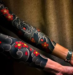 Japanese tattoo sleeves by Koi Tattoo Sleeve, Japanese Sleeve Tattoos, Full Sleeve Tattoos, Cover Up Tattoos, Tattoo Sleeve Designs, Tattoo Sleeves, Irezumi Tattoos, Forearm Tattoos, Body Art Tattoos