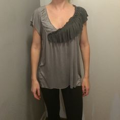 Silence + Noise Grey Top, XS - NWOT Purchased at Urban Outfitters. Never worn. Fits more like a small or oversized. Asymmetric hem. Super flattering and looks great with jeans or leggings. silence + noise Tops Tees - Short Sleeve