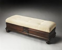 Attirant Plantation Cherry Wood Fabric Storage Bench