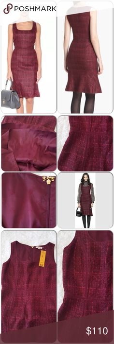 "NWT Tory Burch Drew dress Brand new, gorgeous tweed deep burgundy dress, very tailored and cut that will showcase your hourglass shape. Bust 18"", waist 15.5"", hip 20"" Tory Burch Dresses Midi"