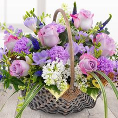 Fabulously Fragrant Basket A divinely delicate and fabulously fragrant flower basket. Lilac Roses and Carnations with white Lilacs, lavender Stocks a Basket Flower Arrangements, Beautiful Flower Arrangements, Floral Arrangements, Flower Basket, Flower Boxes, Beautiful Roses, Beautiful Flowers, Basket Drawing, Lilac Roses