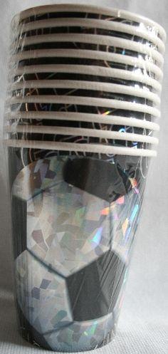 Bicchieri di carta deco Palla da calcio soccer. 10 pz iridiescenti. Per Festa a tema e compleanno. By C&C Creations Store
