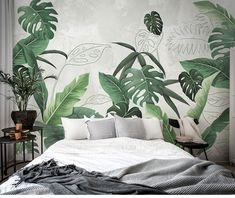 Southeast Asian Rainforest Plant Wall Murals Wall Decor, Green Leaves Shrub Wall Decals Wall Sticker – Related posts:Fabulous Oil Painting Wallpaper Wall Mural, Sakura Tree Wall Art for Bedroom/Living Room Wall Murals.Wisteria by Monet Wall Mural