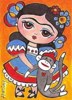 Frida Kahlo and Sock Monkey Decor Girls room art by KarenHaringArt,