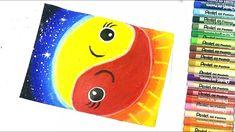 How To Draw And Color Day Night With Oil Pastel L วาดภาพระบายส กลางว ส น ำม น กลางค น