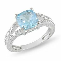 Sterling Silver 2 1/2ct TGW Blue Topaz and 0.04ct Diamond Fashion Ring (H-I, I3) Amour. $37.00