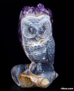 Amethyst Druse Agate Crystal Owl Sculpture