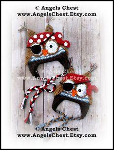 Crochet OWL PIRATE Beanie Earflap Hat PDF Pattern Sizes Newborn to Adult Boutique Design - No. 60 by AngelsChest