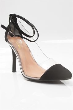 Cinderella Story Clear Plastic Pointed Toe Pumps - Black from Glaze at Lucky 21