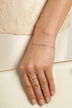 Halleh 18-karat gold diamond bar bracelet rings