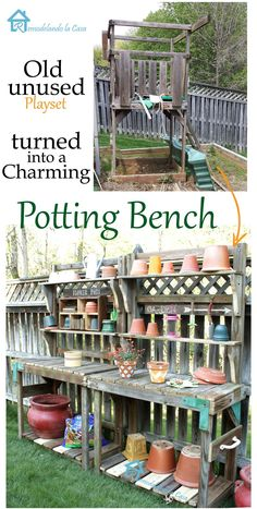 How to re-purpose Playset into a potting bench