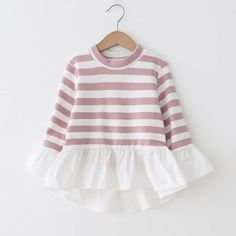 Check out my new Pretty Striped Ruffled Hem Dress for Baby and Toddler Girl, snagged at a crazy discounted price with the PatPat app. Little Girl Fashion, Kids Fashion, Latest Fashion, Fashion Trends, Matching Family Outfits, Baby Outfits Newborn, Baby Sewing, Kind Mode, Kids Wear