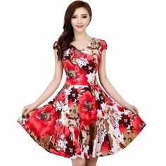 b95b44799917 Buy 2018 New Fashion women Summer Floral Print Short sleeve V neck Slim  Casual sundress Plus