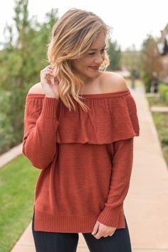 Off shoulder ruffle sweater brick from Lush Fashion Lounge