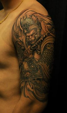 "chronicink: "" Monkey king by BKS "" Irezumi Tattoos, Leg Tattoos, Arm Tattoo, Body Art Tattoos, Tattoos For Guys, Tatoos, Monkey Tattoos, Sugar Skull Tattoos, Los Primates"