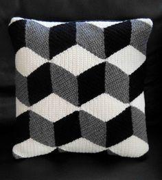 Crochet Black White & Grey Isometric Cushion by Paravent on Etsy.