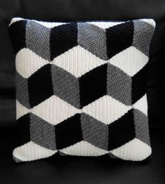 Crochet Black White & Grey Isometric Cushion by Paravent on Etsy, $85.00