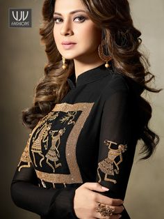 Look stylish with Jennifer Winget Black Georgette Designer Anarkali Suit and with a wide range of silk, cotton, satin, linen anarkali punjabi salwar suits Black Anarkali, Anarkali Suits, Pakistani Dresses Casual, Indian Dresses, Indian Outfits, Jennifer Winget Beyhadh, Designer Anarkali Dresses, Indian Wedding Wear, Bollywood Outfits