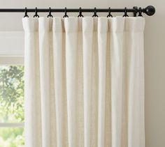 "Emery Linen/Cotton Drape | Pottery Barn 50x84"" w/ blackout lining is $135 each (is width enough?)"